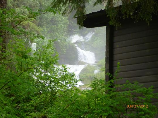 Manzanita Lake Cabin Waterfall View