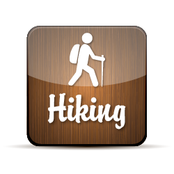 Button with an illustration of a hiker with the words hiking underneath.