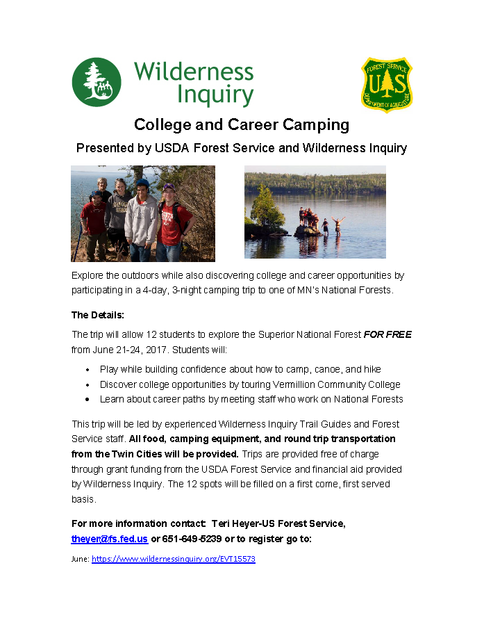 College and Career Superior National Forest Camping Trip