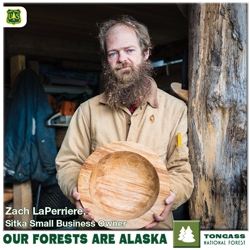 Zach LaPerriere holding a handmade wooden bowl