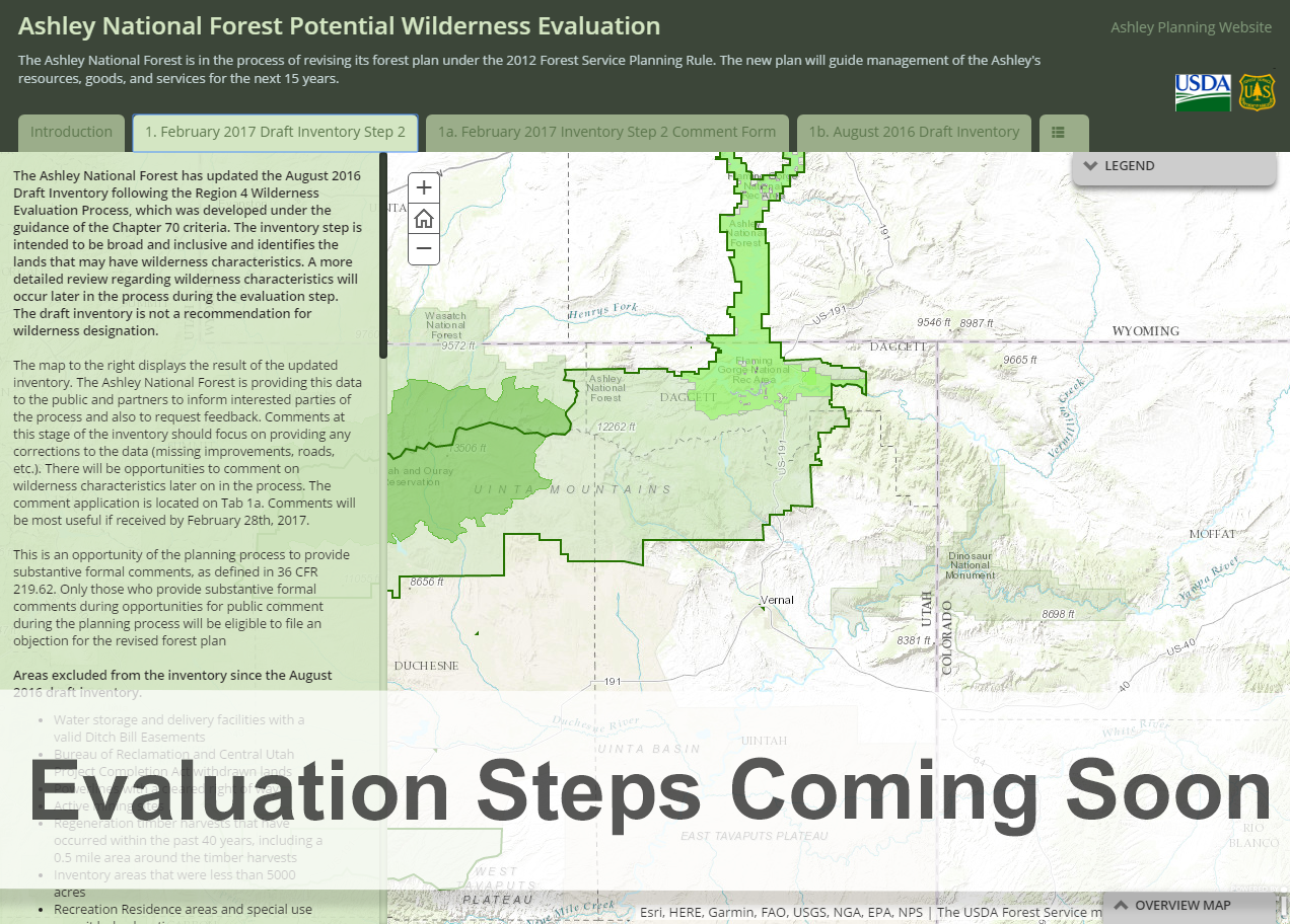 Screen shot of the wilderness evaluation web application with text saying evaluation steps coming so