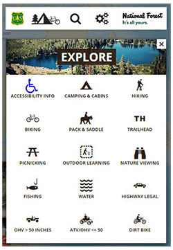A map with activity icons over it. Text says Explore.