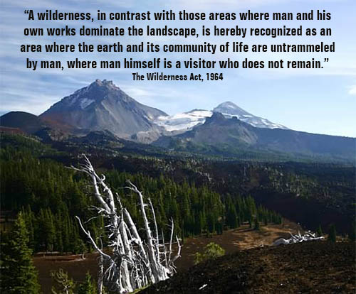 Three sisters mountains with quote from the Wilderness Act