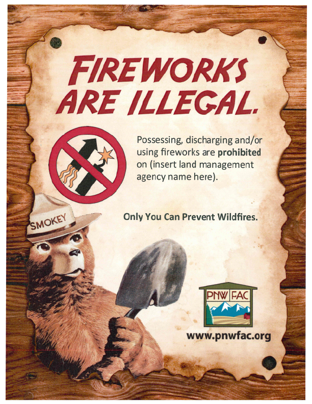 graphic: Fireworks are illegal with Smokey Bear