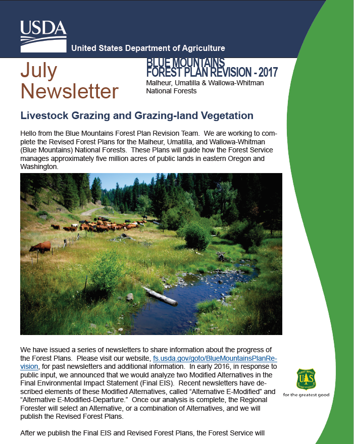 image of the July 2017 Grazing Newsletter regarding the Blue Mtns. Forest Plan Revision