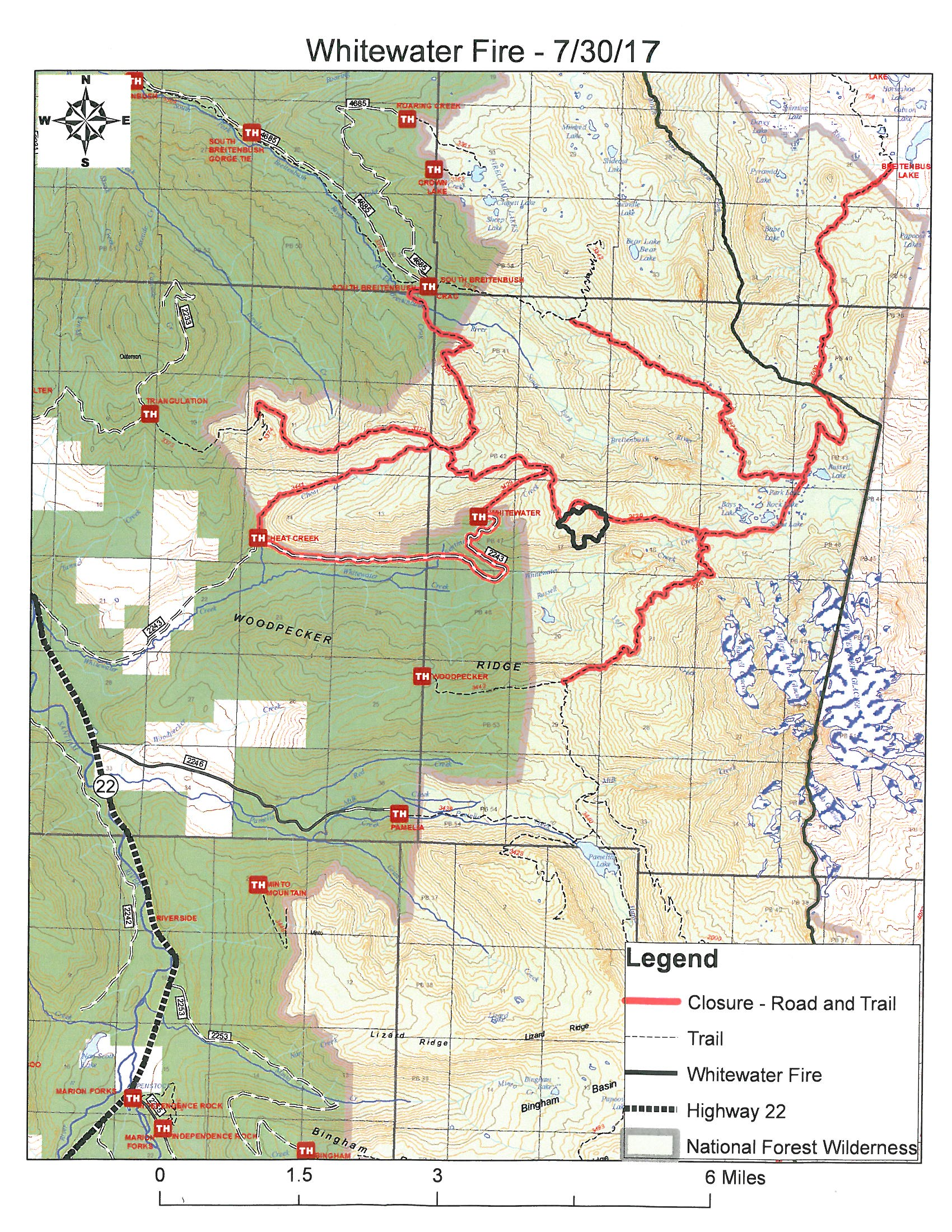 Forest Service A Map Showing Whitewater Fire Road And Trail