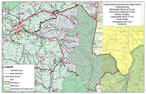 A map showing Whitewater Fire Road and Trail Closures in Mt. Jefferson Wilderness