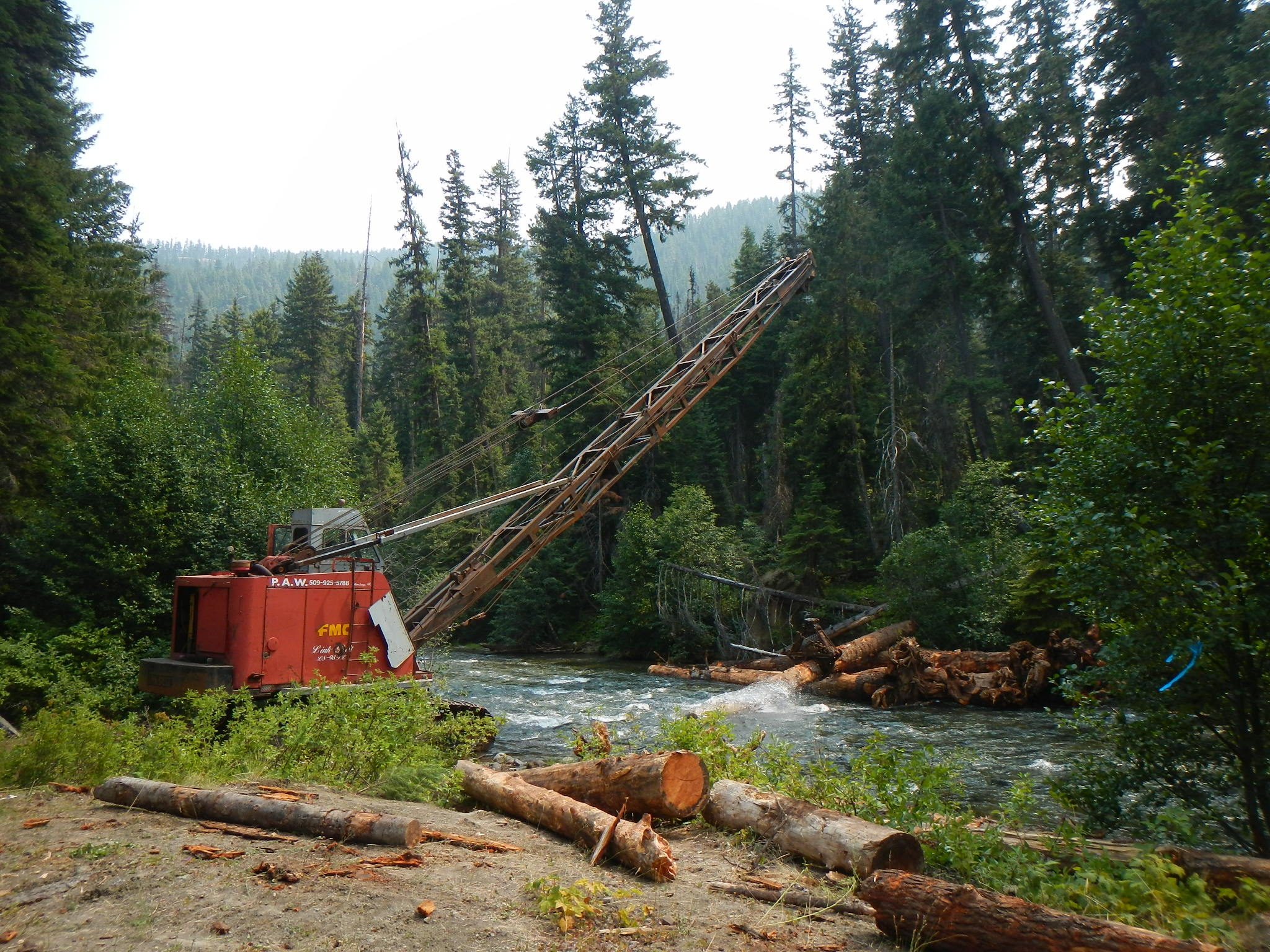 Cable Crane places logs in Bumping River