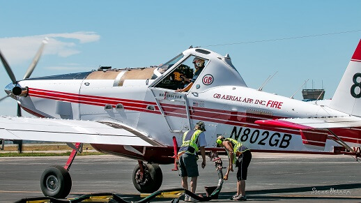 Loading a Single Engine AirTanker, better known as a SEAT.