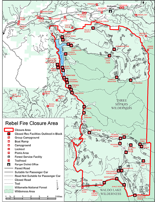 A link that takes you to a map of the Rebel Fire Closure area