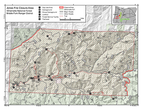 A link that takes you to a map of the Jones Fire Closure area