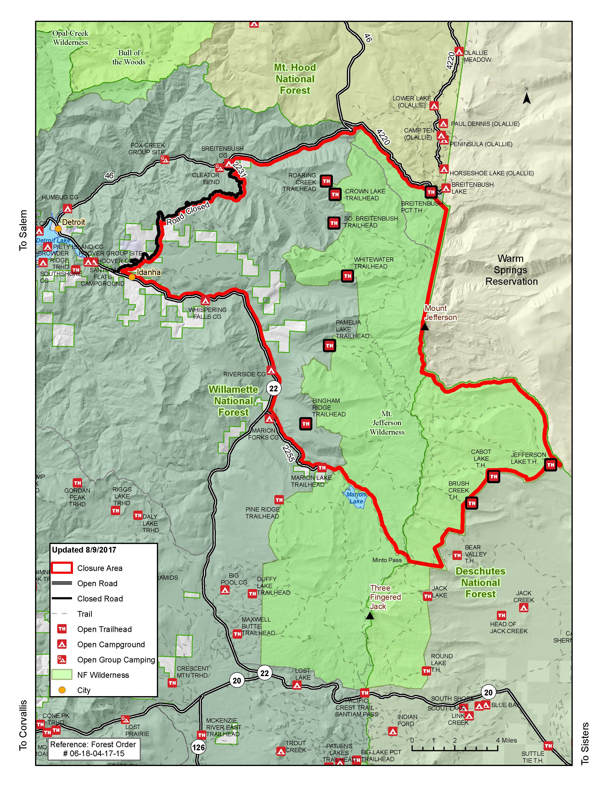 Forest Service Closure Map Of Whitewater Fire In The Mt Jefferson