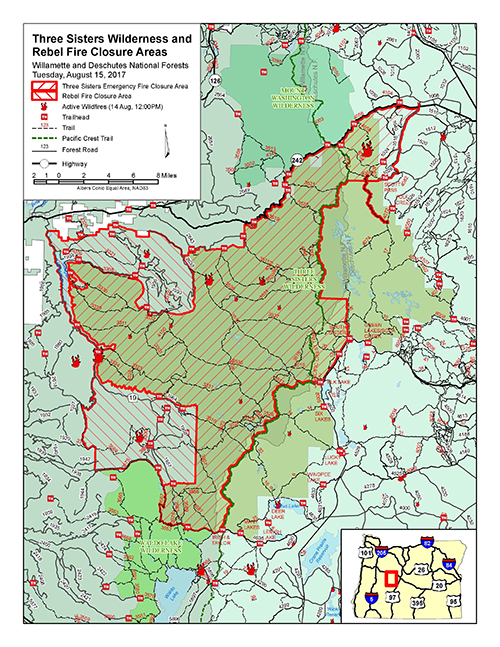 A link that takes you to a map of the Rebel and Three Sisters Wilderness Fire Closure area