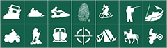 Activities for enjoying the outdoors illustrated as a set of icons.