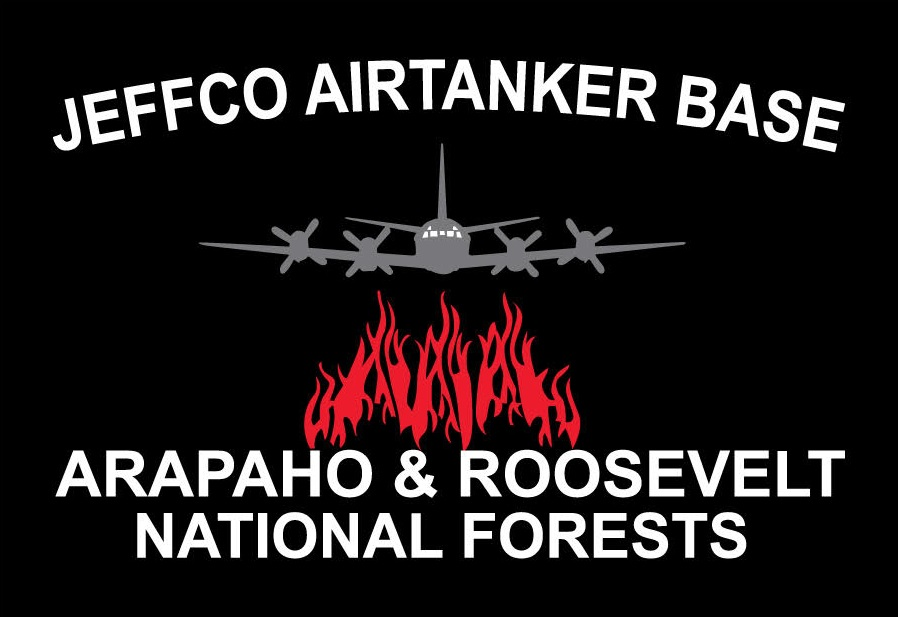 Black rectangular logo with an airtanker flying over red flames.