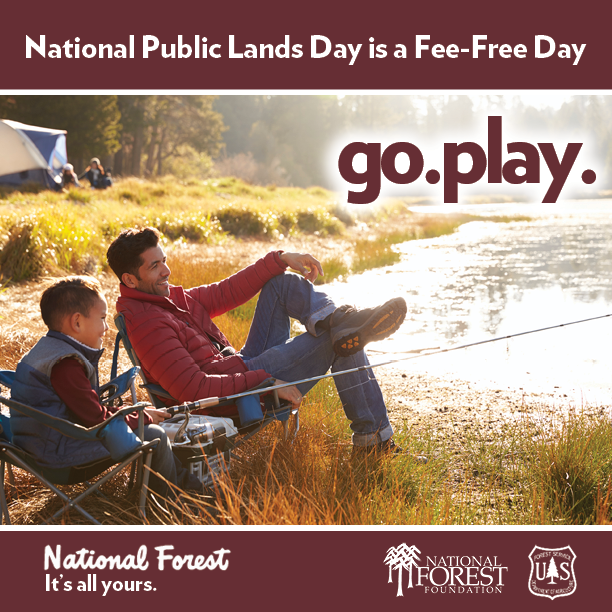 Infographic for National Public Lands Day is a Fee Free Day. Go. Play.
