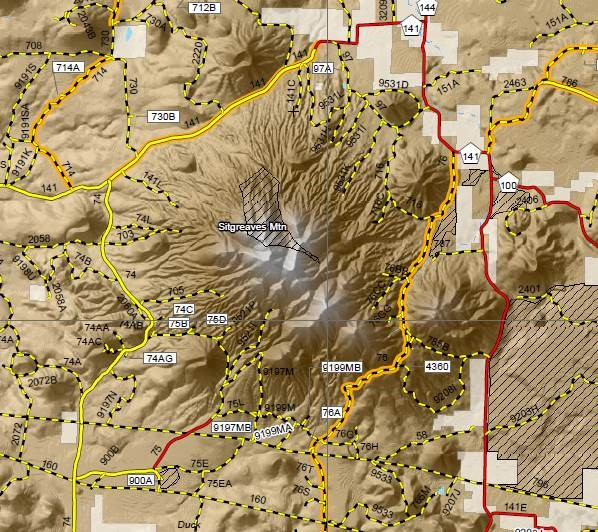 A sample segment of the Travel Map, which has topographic relief and other features.