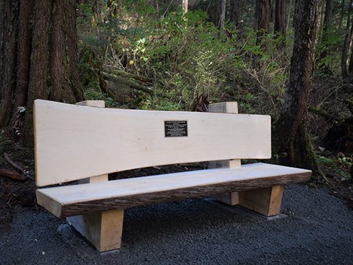 Sitka Cross Trail  John Sherrod Memorial Bench Sitka, Alaksa