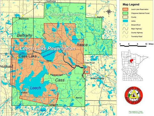 Chippewa national forest tribal relations map showing the areas of the forest and reservation sciox Image collections