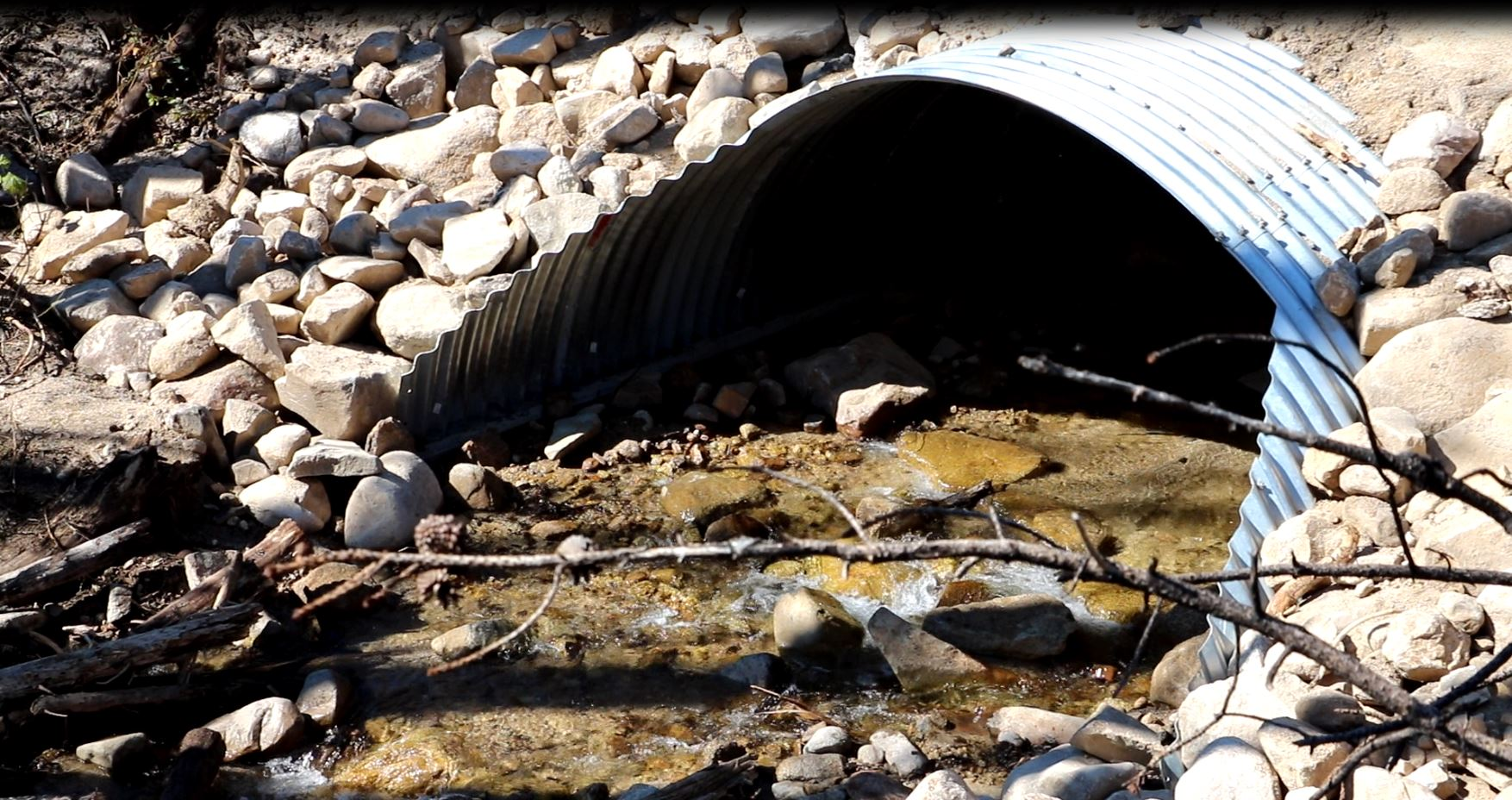 A photo of a new culvert within a wildfire area