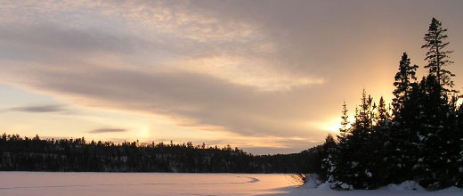 Winter sunrise on the Superior National Forest