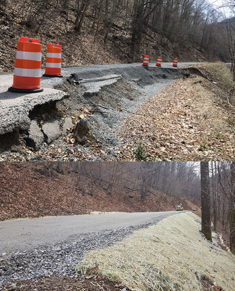 Before and after photos show a full restoration to a washed out portion of road.