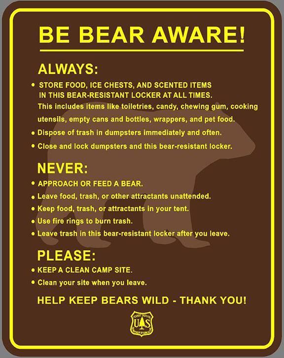 Sign for food storage locker listing tips for being bear aware.