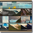 """Endicott Arm – Four Progressions.  Oil on panel: small panels combined in series, 21"" x 33"" framed"