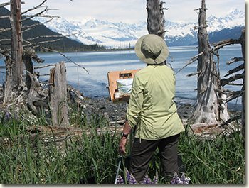 Susan Watkins painting in Nellie Juan-College Fiord WSA 2012.