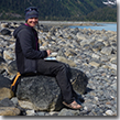 Kristin Link on the beach in Nellie-Juan College Fiord Wilderness Study Area.