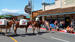 Children petting a mule during a parade on a town main street with crowd in the background