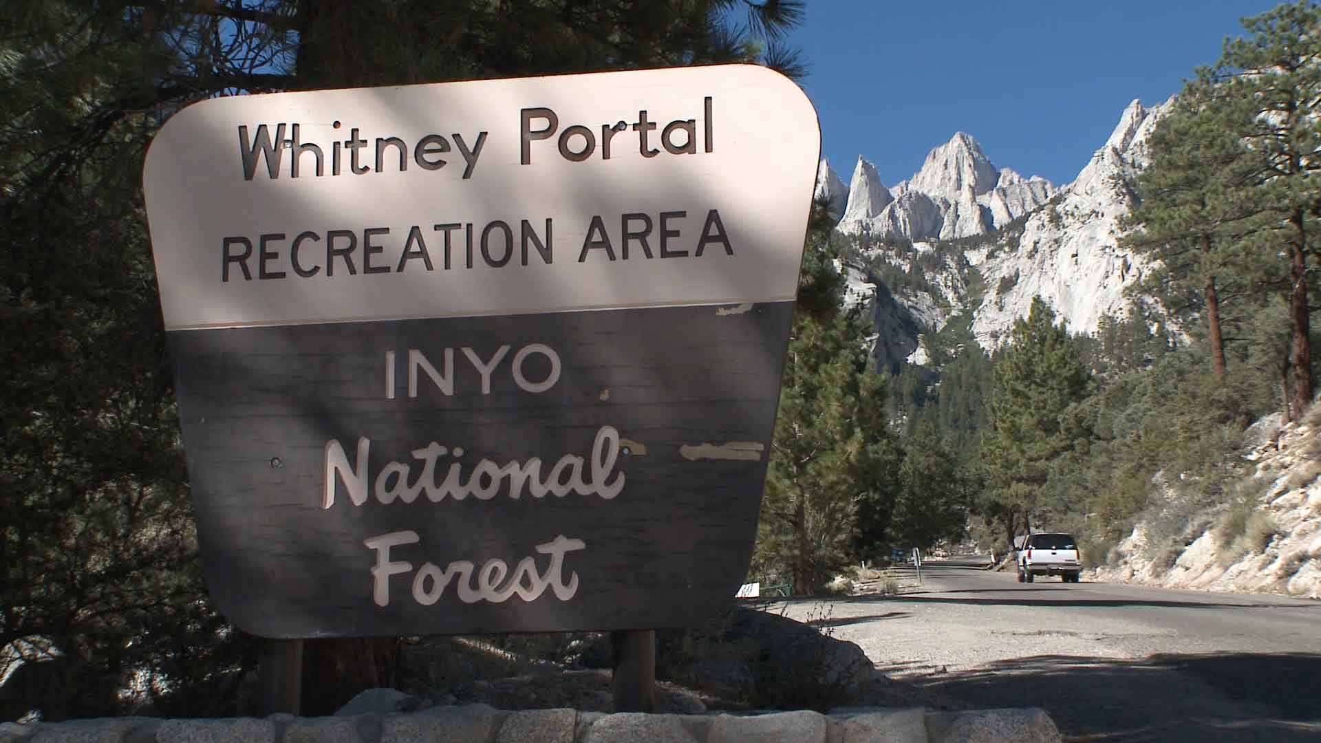 Sign of Whitney Portal Recreation Area.