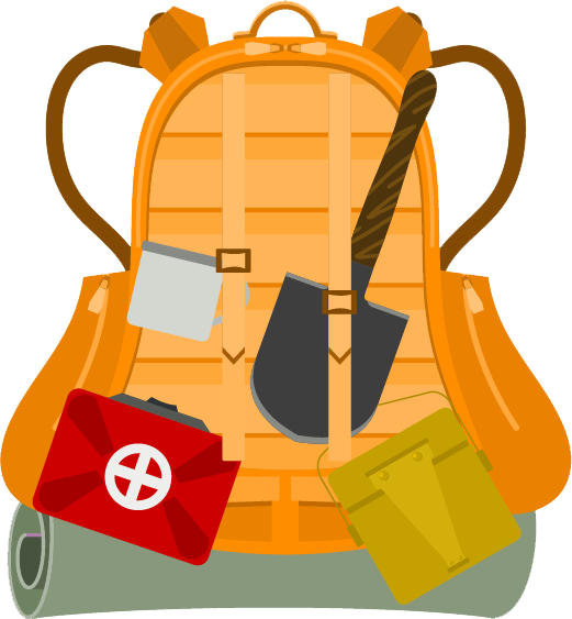 Backpack with first aid kit