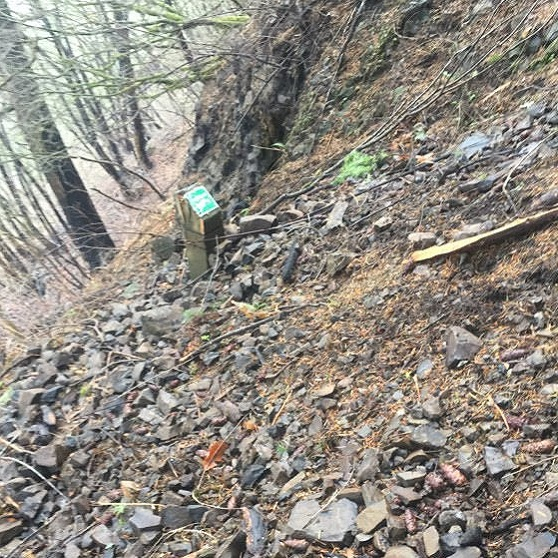 Trail washed out with post fire debris