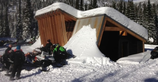 Snowmobilers rest at a warming hut on the Idaho Panhandle National Forests