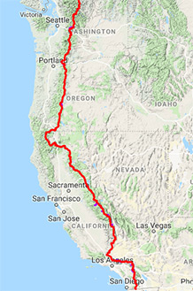 Screenshot of map lining out the trail from Washington through California.