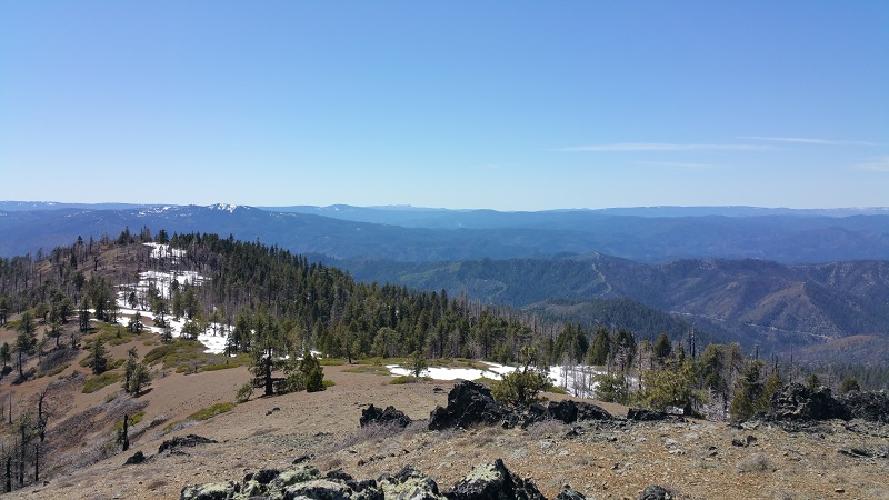View over the mountaintops of the Chancellula Wilderness area on the Shasta-Trinity National Forest
