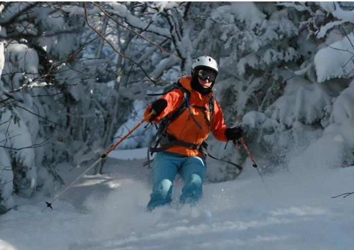 This photograph shows a man skiing downhill in the snow-covered forest.