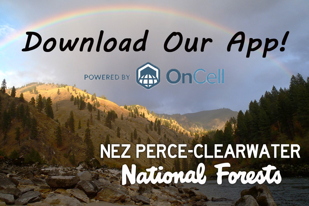 A promotional image encouraging people to download the forests' OnCell app.