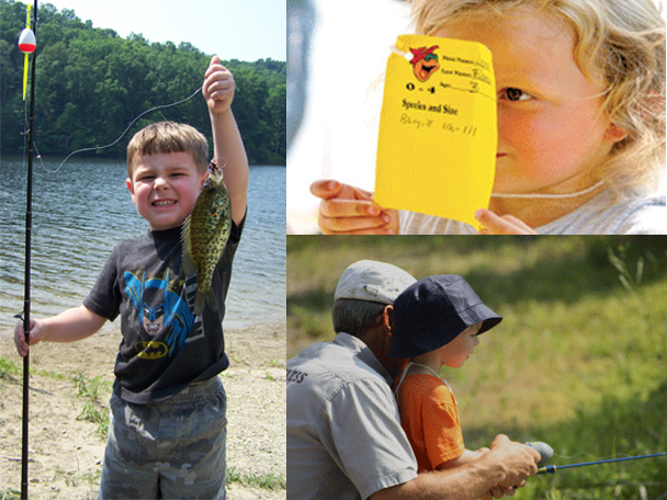 Three images: a little boy proudly holing a fish, a girl showing an entry, and a family fishing