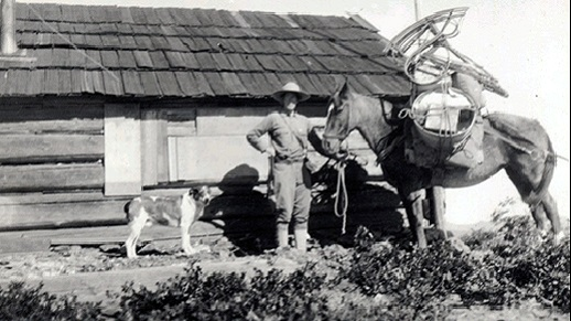 First female fire lookout standing in front of her cabin between her dog and pack horse in 1913.