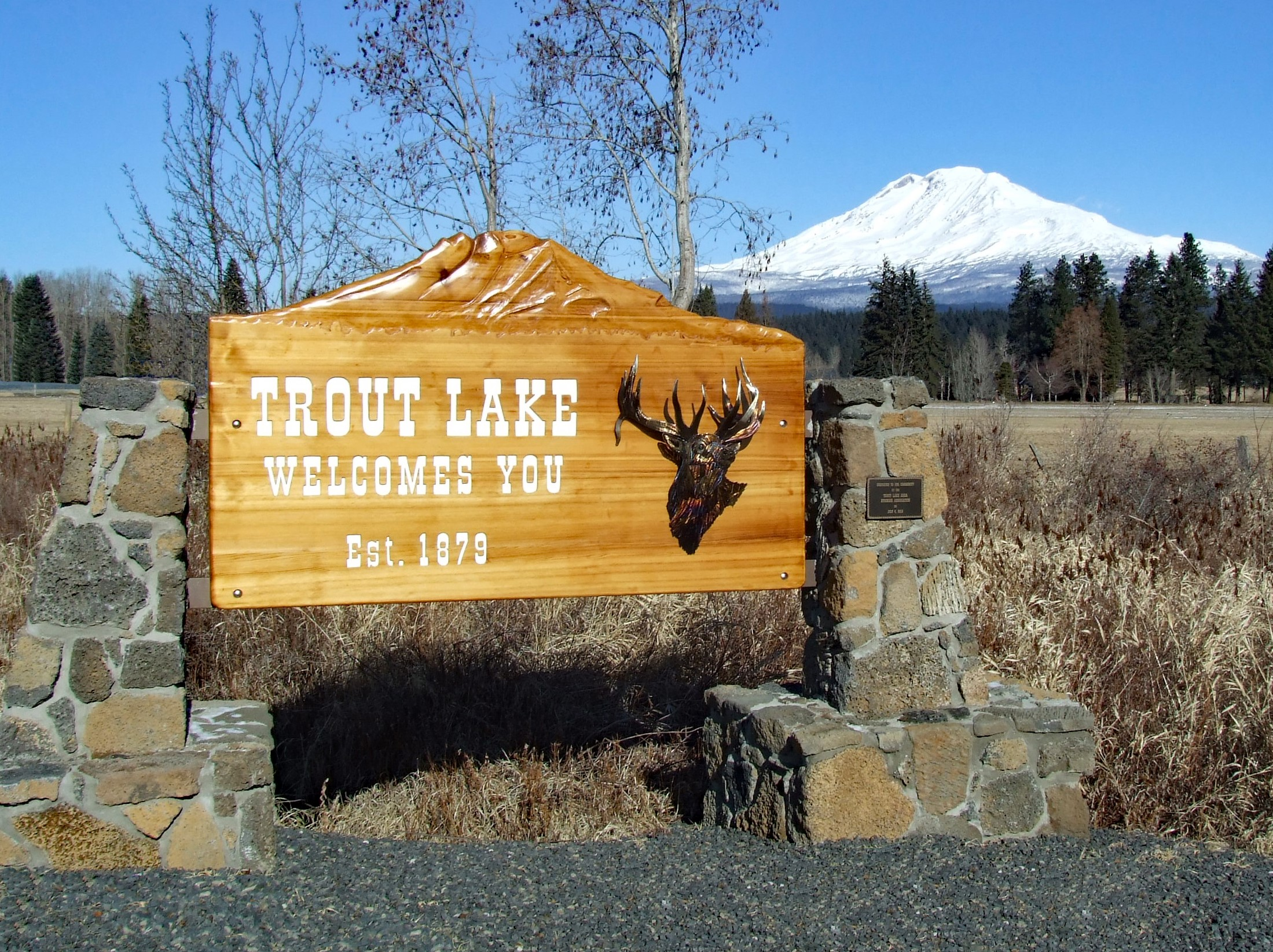Welcome to Trout Lake sign