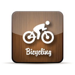 A stick figure image of a person riding a bike on a wood-grain jelly icon.