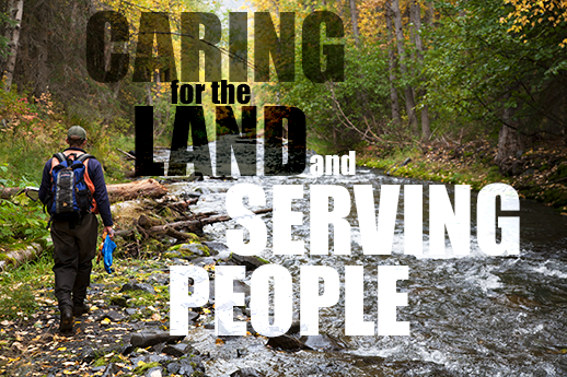 The Intro image has text that reads: aring for the land and serving people!