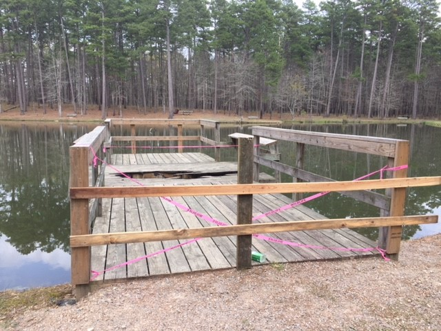 Fishing dock damaged by campfire