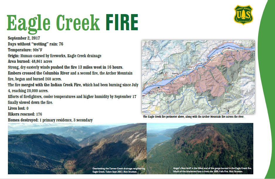 Screenshot of flier about Eagle Creek Fire
