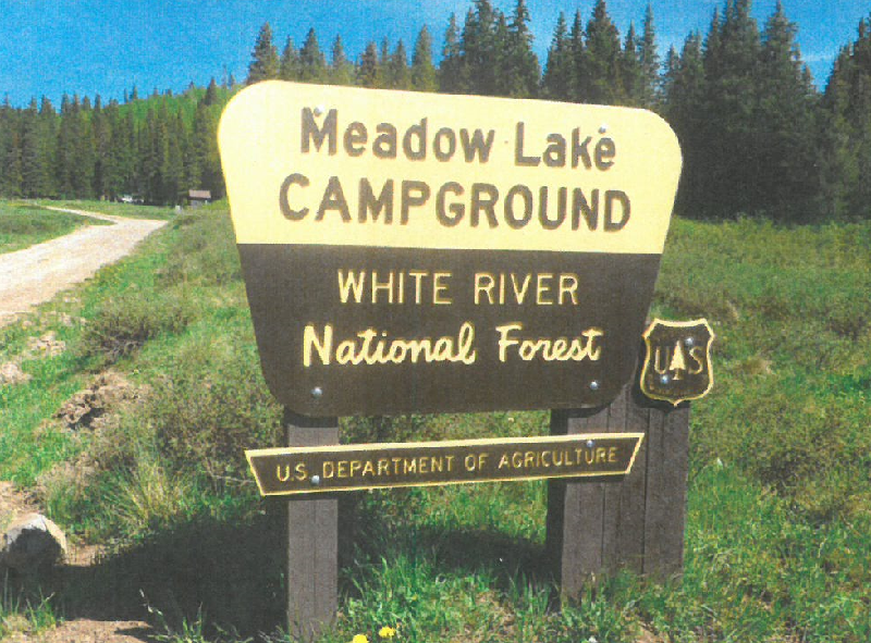 The entry sign for the Meadow Lake Campground