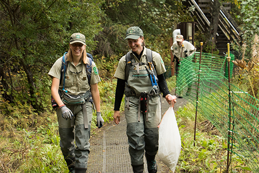 Two Streamwatch staff walking along a Russian River Trail picking up trash.