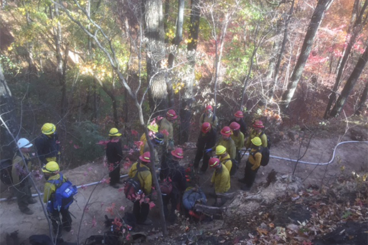 A group on firefighters on a trail – aerial shot.