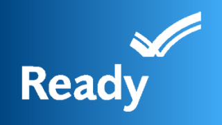 Ready.gov Logo on a blue background. The word Ready with a stylized checkmark